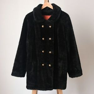 Vintage 1950's Brown Faux Fur Double Breasted Coat